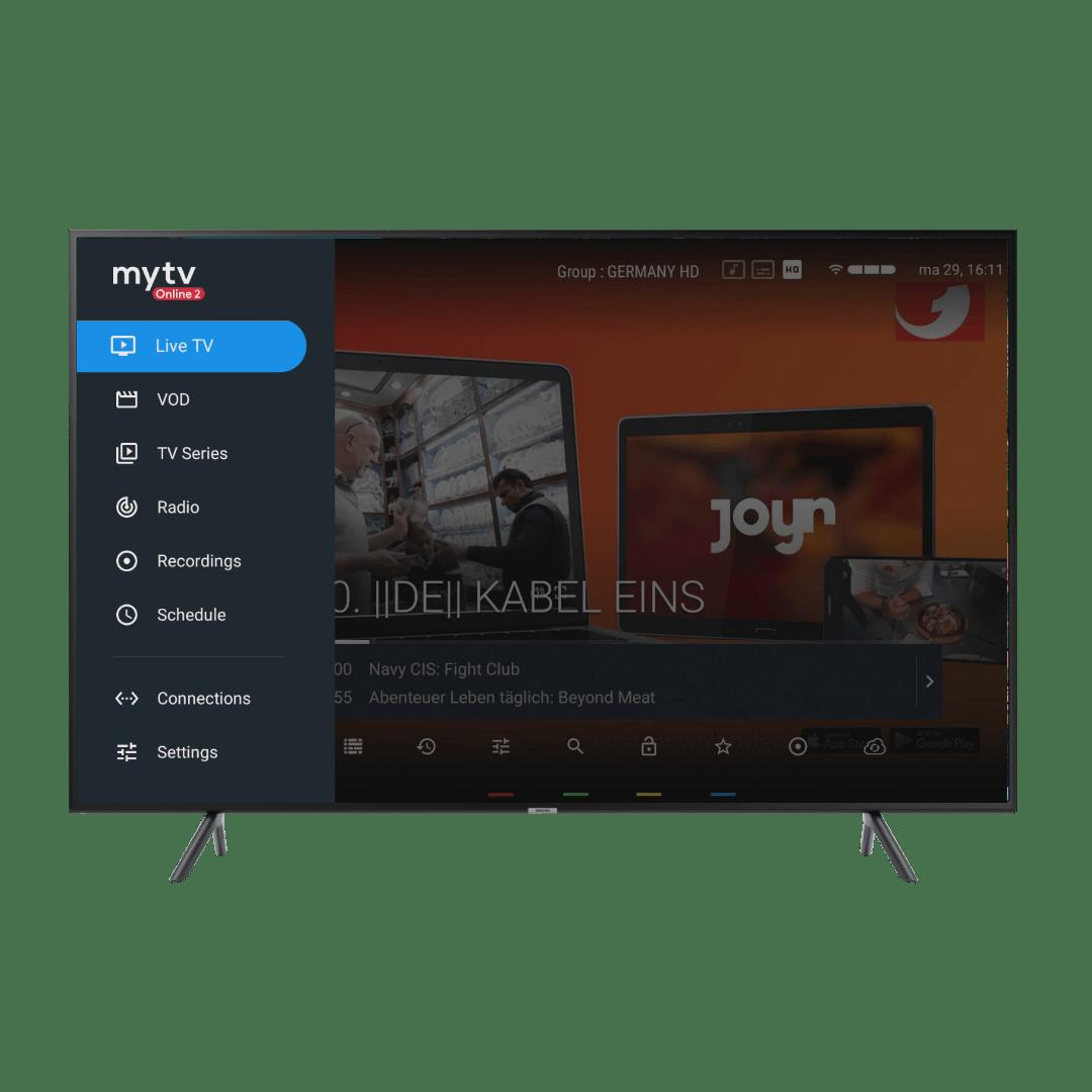MyTV online 2 beginscherm